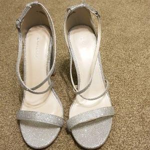 Bamboo Frenzy silver glittery heels